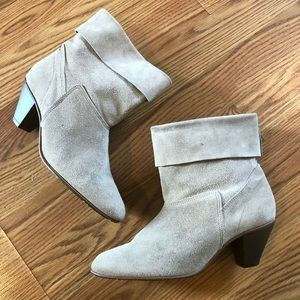 American Girl Shoes - Vintage Taupe Leather Suede Cuffed Booties